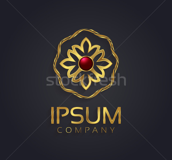 Decorative vector graphic gold and ruby flower symbol for your c Stock photo © feabornset