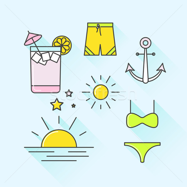 Vector graphic icon set of summer and holiday with long shadow Stock photo © feabornset
