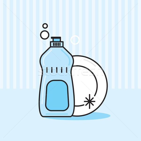 Grappig vector grafische illustratie fles schotel Stockfoto © feabornset