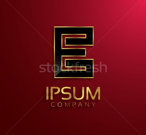 Beautiful vector graphic black alphabet with gold rim / letter E Stock photo © feabornset