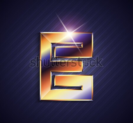 Beautiful vector graphic ruby alphabet with gold rim / letter E  Stock photo © feabornset