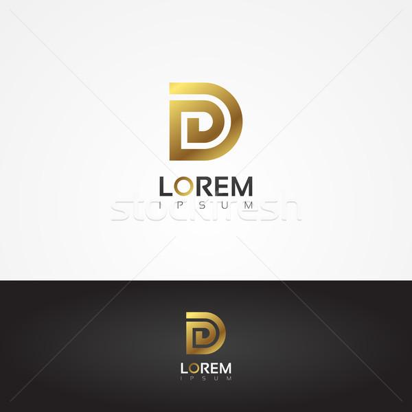Elegant vector graphic gold alphabet symbol / letter D Stock photo © feabornset