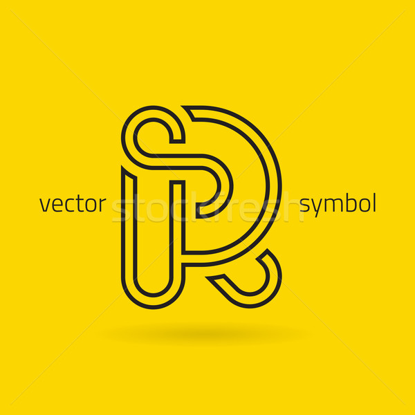 Stock photo: Vector graphic creative line alphabet symbol / Letter R