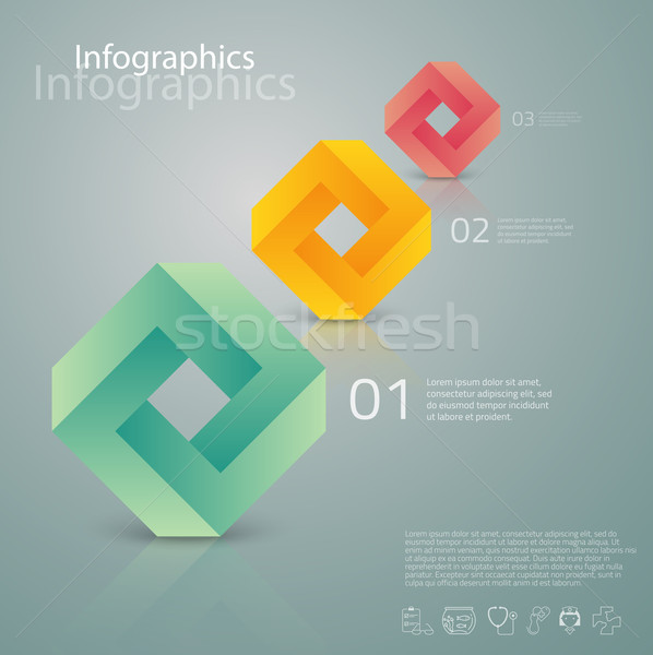 Vector graphic abstract info-graphics with geometric elements an Stock photo © feabornset
