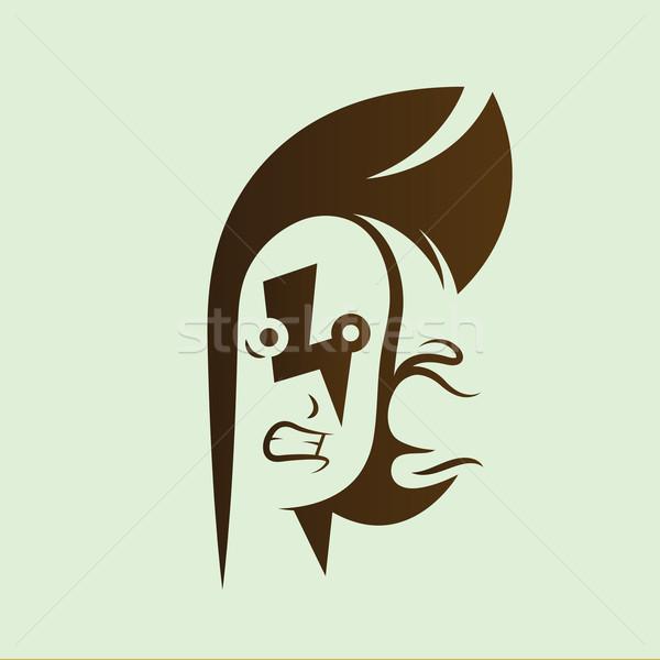Wektora graficzne ilustracja punk dziecko sylwetka Zdjęcia stock © feabornset
