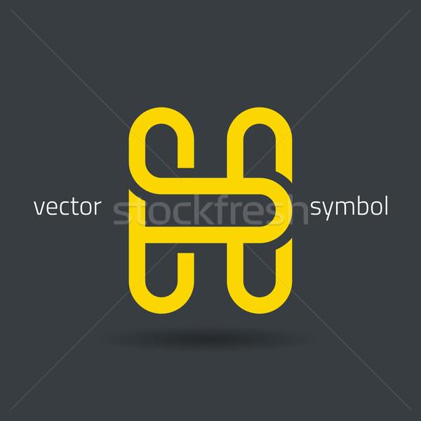 Vector graphic creative line alphabet symbol / Letter H Stock photo © feabornset