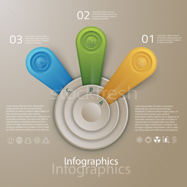 Vector graphic abstract info-graphics with circles and icons in  Stock photo © feabornset