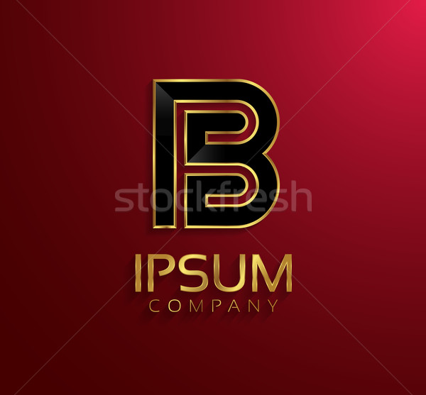 Beautiful vector graphic black alphabet with gold rim / letter B Stock photo © feabornset