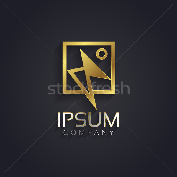 Vector graphic golden abstract schematic dancer human symbol wi Stock photo © feabornset