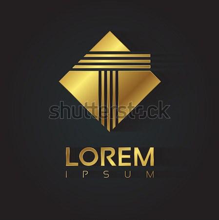Dourado vetor gráfico cristal símbolo brilhante Foto stock © feabornset