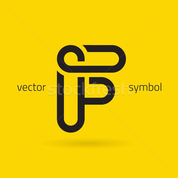 Vector graphic creative line alphabet symbol / Letter F Stock photo © feabornset