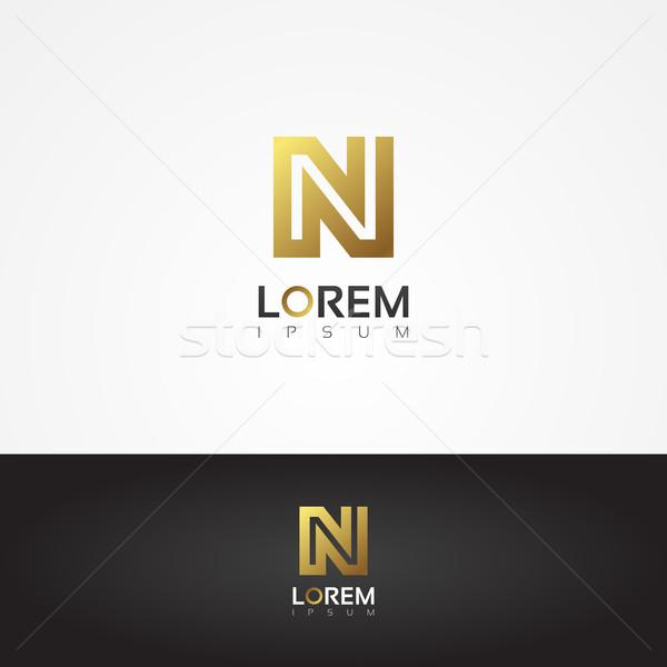 Elegant vector graphic gold alphabet symbol / letter N Stock photo © feabornset