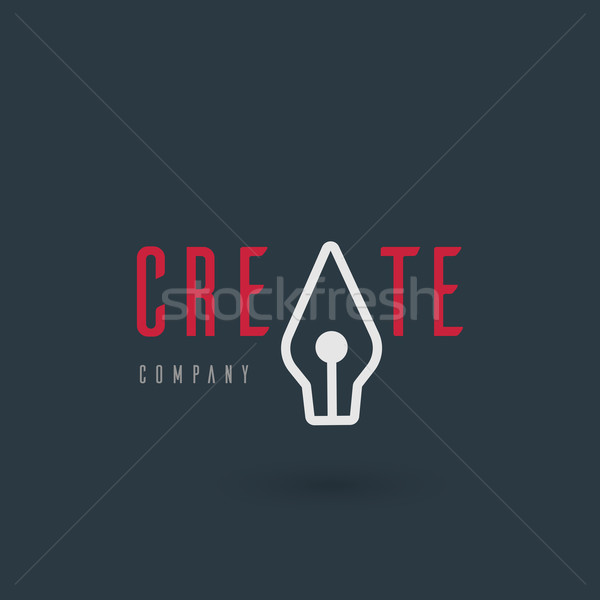 Vector graphic illustration of a fountain pen symbol with sample Stock photo © feabornset