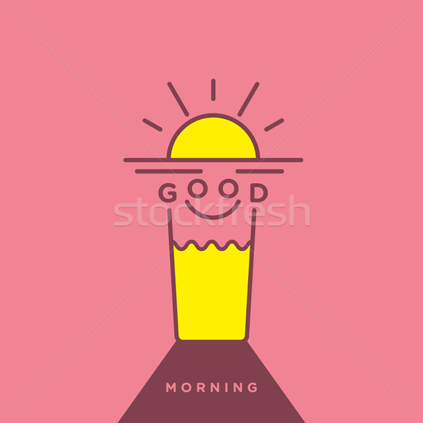 Happy morning illustration with rising sun and orange juice in v Stock photo © feabornset