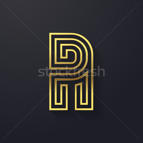 Vector graphic creative line gold alphabet / letter A Stock photo © feabornset