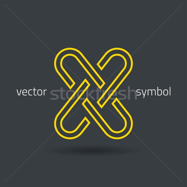 Vector graphic creative line alphabet symbol X Stock photo © feabornset