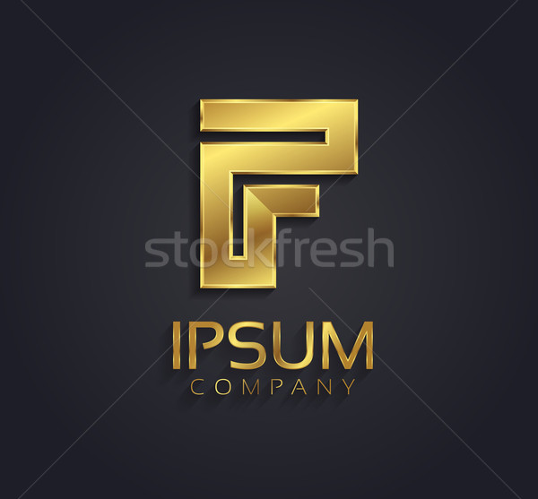 Beautiful vector graphic gold alphabet / letter F / symbol Stock photo © feabornset