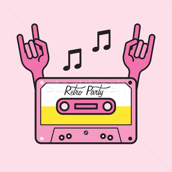 Funny vector graphic illustration of a singing pink cassette tap Stock photo © feabornset