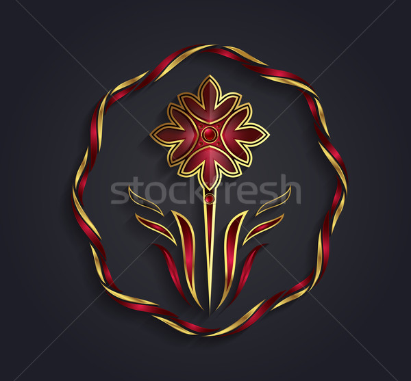 Decorative vector graphic gold and ruby flower symbol Stock photo © feabornset