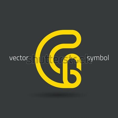 Vector graphic creative line alphabet symbol C Stock photo © feabornset