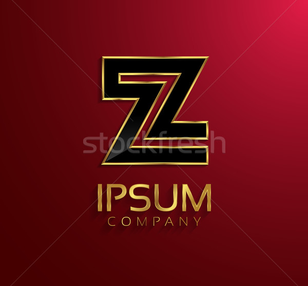 Beautiful vector graphic black alphabet with gold rim / letter Z Stock photo © feabornset