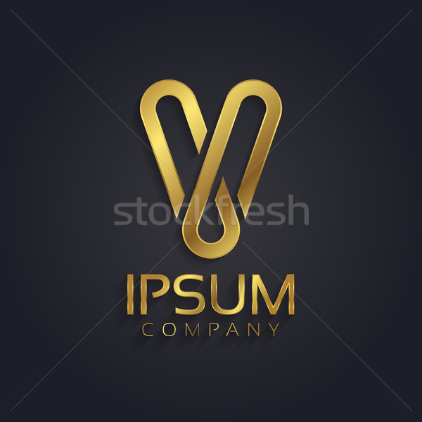 Beautiful vector graphic gold alphabet / letter V Stock photo © feabornset