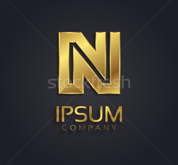 Beautiful Vector Graphic Gold Alphabet Letter N Symbol Vector