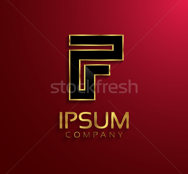 Beautiful vector graphic black alphabet with gold rim / letter F Stock photo © feabornset