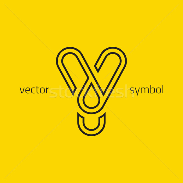 Vector graphic creative line alphabet symbol / Letter Y Stock photo © feabornset