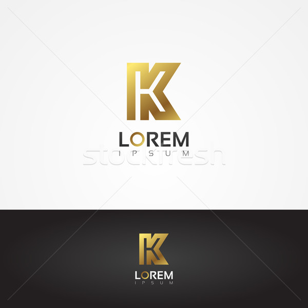Elegant vector graphic gold alphabet symbol / letter K Stock photo © feabornset
