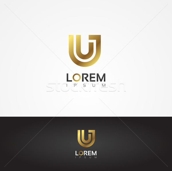 Elegant vector graphic gold alphabet symbol / letter U Stock photo © feabornset