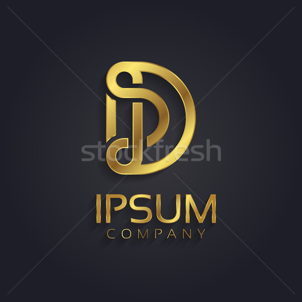 Beautiful vector graphic gold alphabet / letter D Stock photo © feabornset