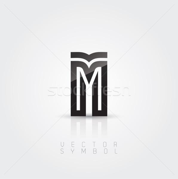 Vector graphic elegant and creative line alphabet / Letter M Stock photo © feabornset