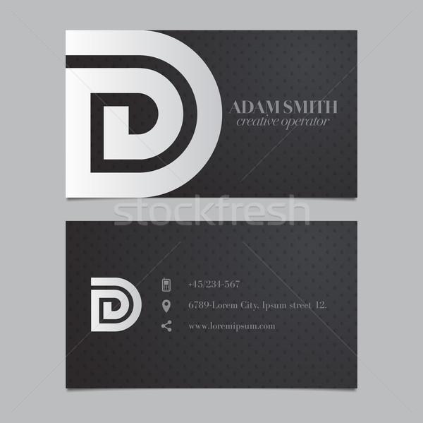 Stock photo: Elegant vector graphic business card with alphabet symbol / lett