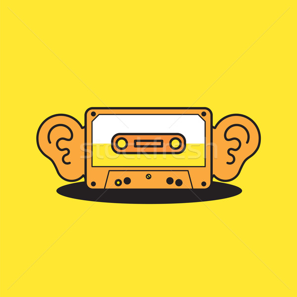 Vector graphic cassette tape icon with big ears listening to mus Stock photo © feabornset