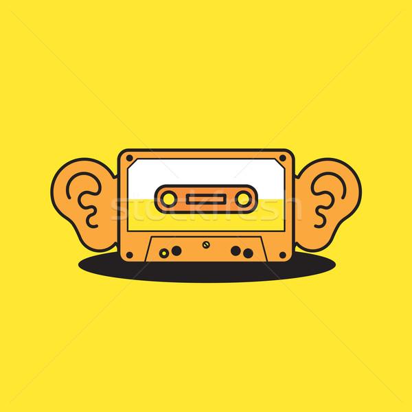Vecteur graphique cassette bande icône grand Photo stock © feabornset
