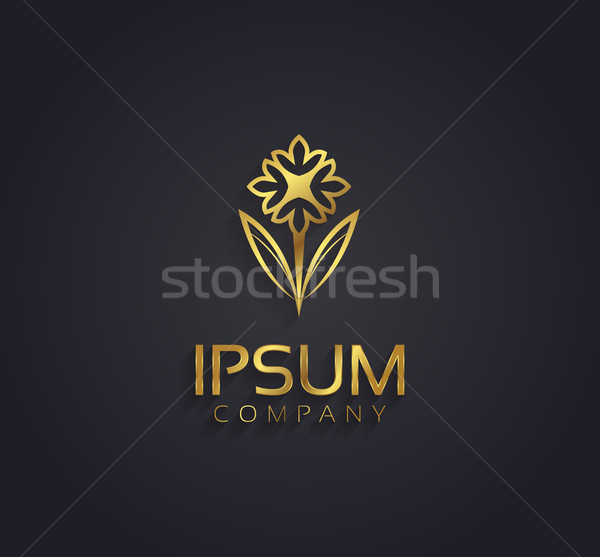 Vector graphic gold flower symbol with sample text for your comp Stock photo © feabornset