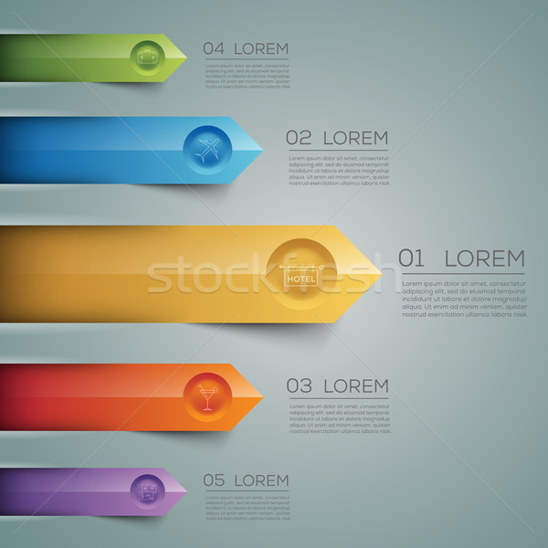 Vector graphic abstract info-graphics with arrows and icons in v Stock photo © feabornset