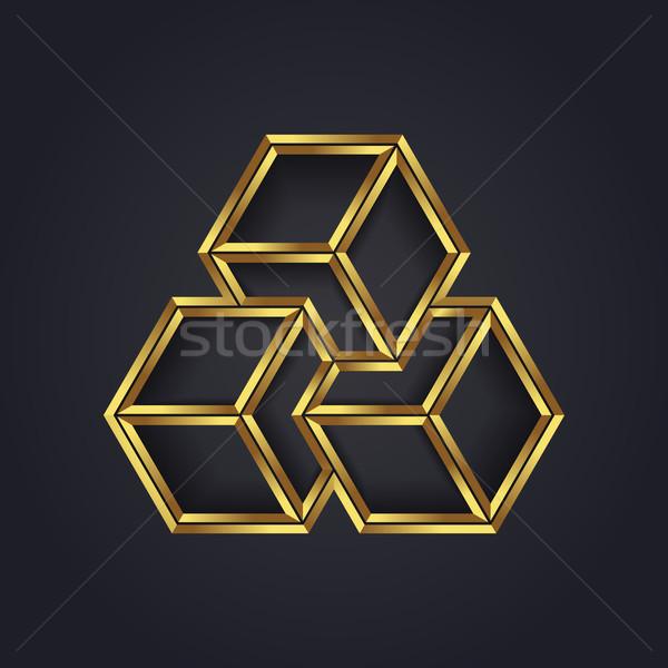 Wektora graficzne złudzenie optyczne geometryczny kostki symbol Zdjęcia stock © feabornset