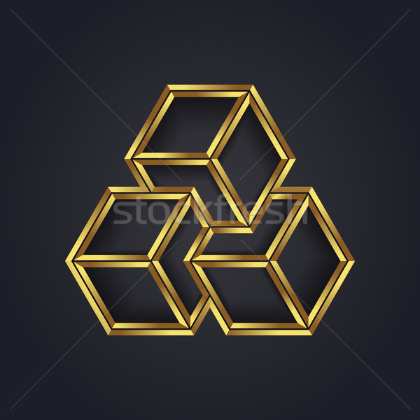 Vector grafische meetkundig kubus symbool Stockfoto © feabornset