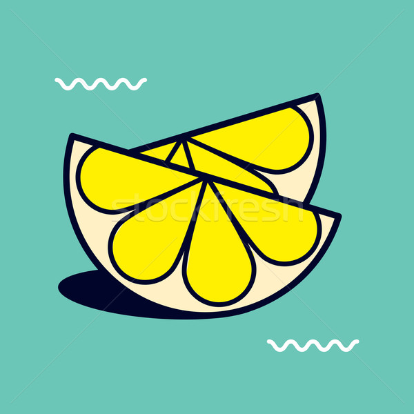 Happy vector graphic minimal icon of sliced lemons in vibrant co Stock photo © feabornset