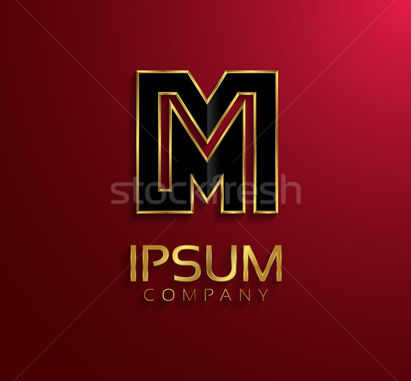 Stock photo: Beautiful vector graphic black alphabet with gold rim / letter M