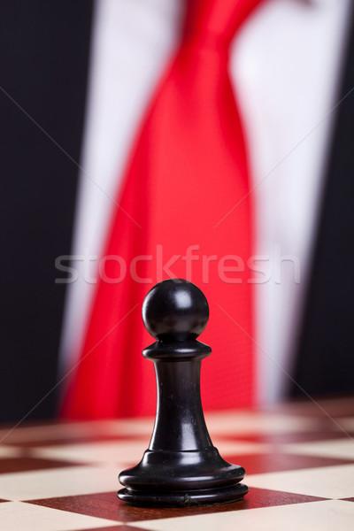 Primo piano foto nero scacchi pedone sola Foto d'archivio © feedough