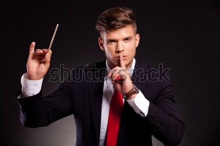 Stock photo: business man selecting something