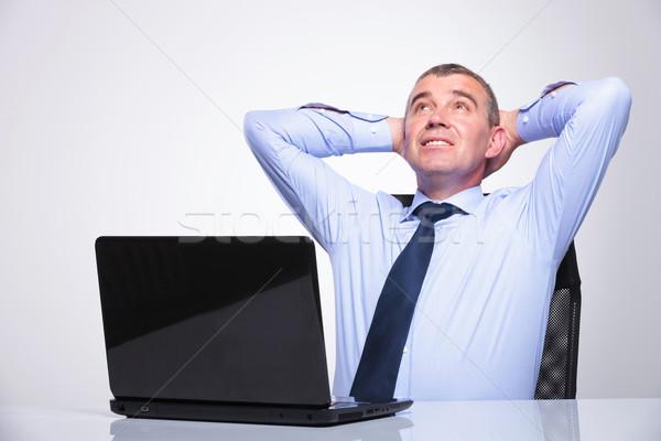 öreg üzletember iroda idős férfi ül Stock fotó © feedough