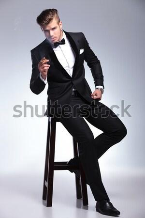 Man smoking denken een hand Stockfoto © feedough