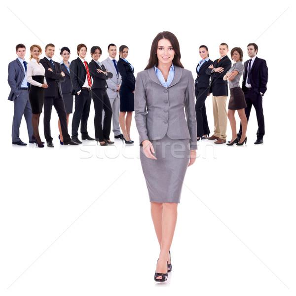Stockfoto: Geslaagd · gelukkig · business · team · zakenvrouw · lopen · vooruit