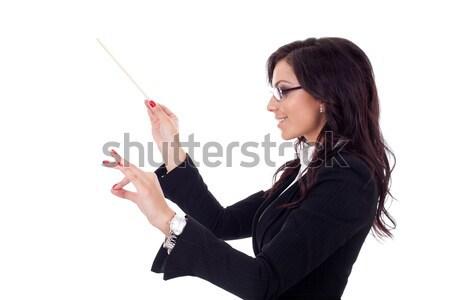 Vrouw presenteren klein portemonnee aantrekkelijk jonge vrouw Stockfoto © feedough