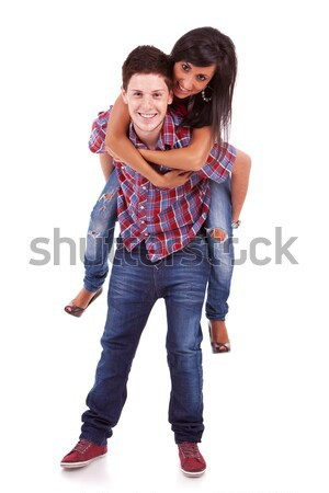 young woman on her boyfriend's back Stock photo © feedough