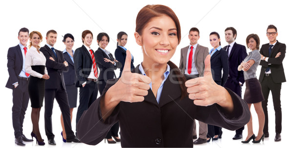 woman leader is very happy about the results  Stock photo © feedough